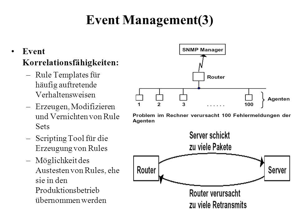 Event Management(3) Event Korrelationsfähigkeiten: –Rule Templates für häufig auftretende Verhaltensweisen –Erzeugen, Modifizieren und Vernichten von