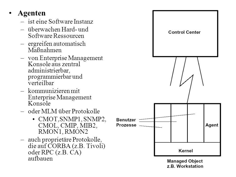 Agenten –ist eine Software Instanz –überwachen Hard- und Software Ressourcen –ergreifen automatisch Maßnahmen –von Enterprise Management Konsole aus z