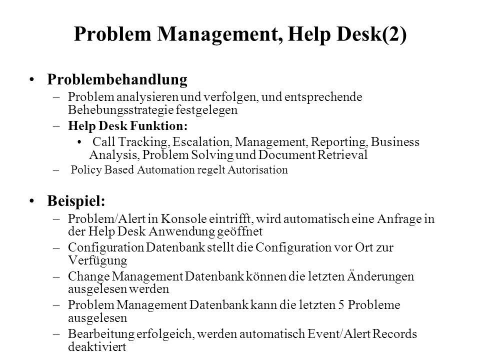 Problem Management, Help Desk(2) Problembehandlung –Problem analysieren und verfolgen, und entsprechende Behebungsstrategie festgelegen –Help Desk Fun