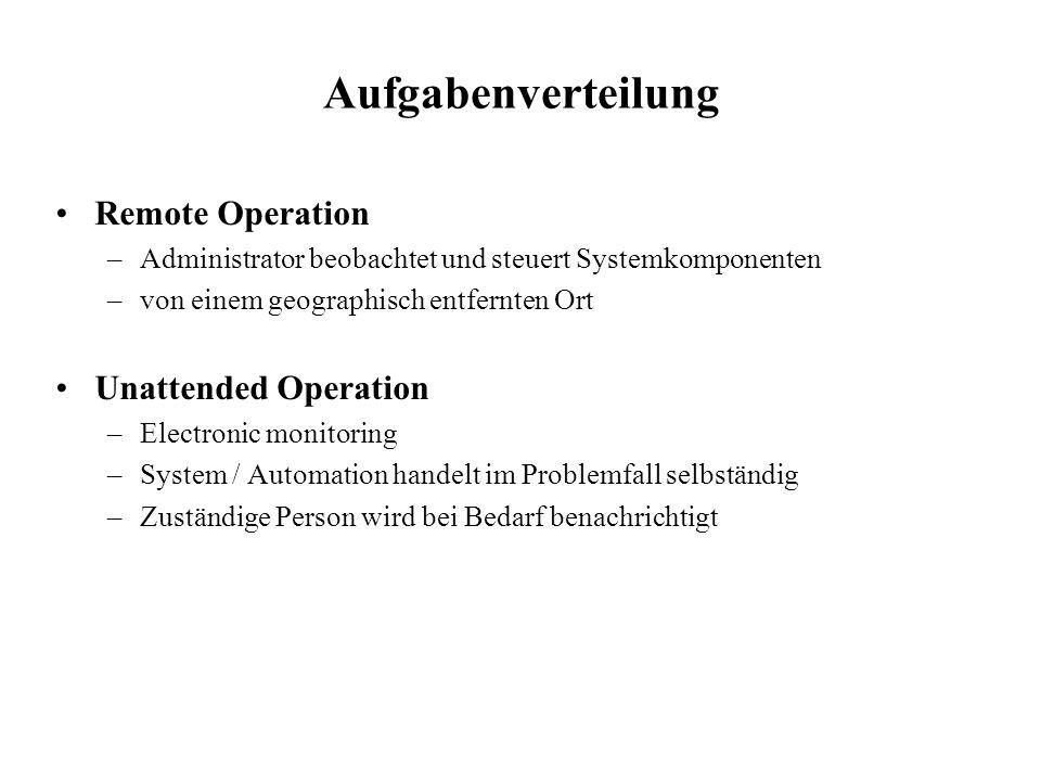 Aufgabenverteilung Remote Operation –Administrator beobachtet und steuert Systemkomponenten –von einem geographisch entfernten Ort Unattended Operatio