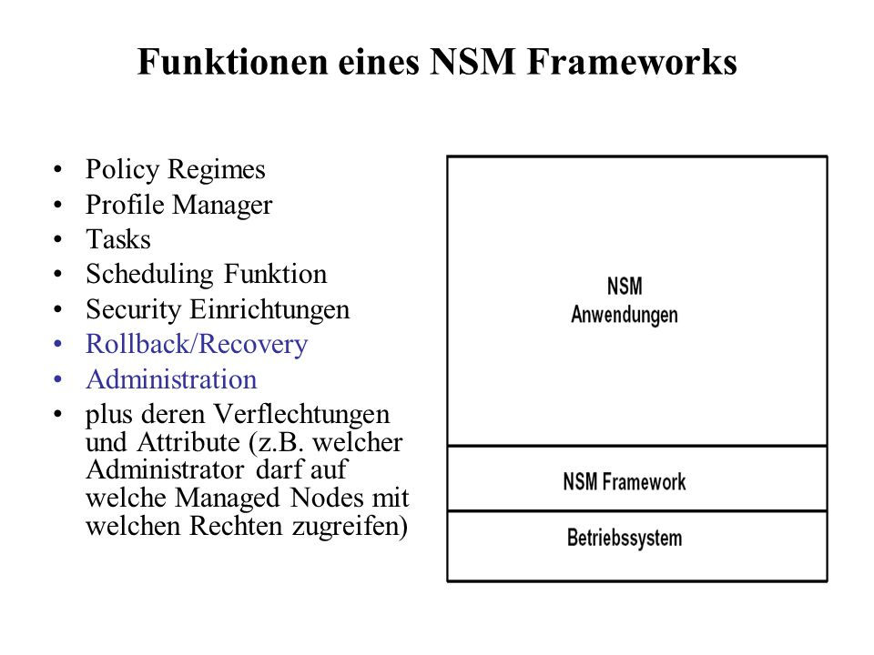 Funktionen eines NSM Frameworks Policy Regimes Profile Manager Tasks Scheduling Funktion Security Einrichtungen Rollback/Recovery Administration plus