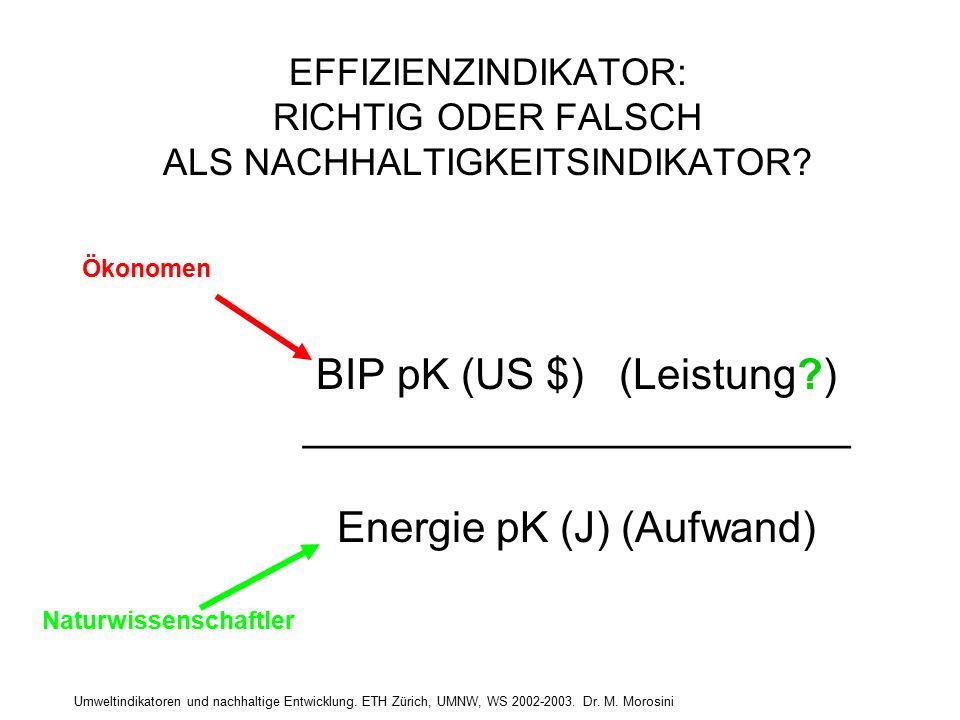 Umweltindikatoren und nachhaltige Entwicklung. ETH Zürich, UMNW, WS 2002-2003. Dr. M. Morosini EFFIZIENZINDIKATOR: RICHTIG ODER FALSCH ALS NACHHALTIGK