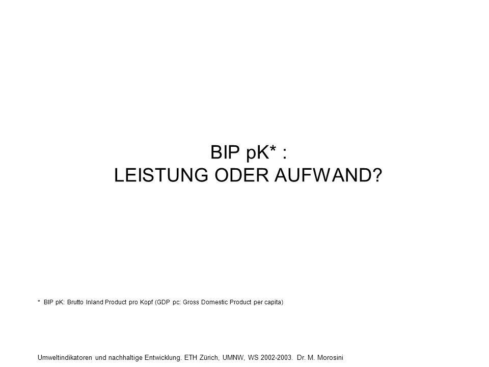 Umweltindikatoren und nachhaltige Entwicklung. ETH Zürich, UMNW, WS 2002-2003. Dr. M. Morosini BIP pK* : LEISTUNG ODER AUFWAND? * BIP pK: Brutto Inlan