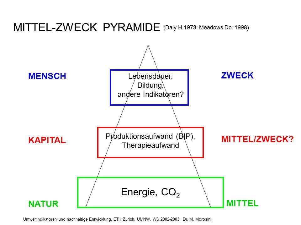 Umweltindikatoren und nachhaltige Entwicklung. ETH Zürich, UMNW, WS 2002-2003. Dr. M. Morosini Lebensdauer, Bildung, andere Indikatoren? Produktionsau