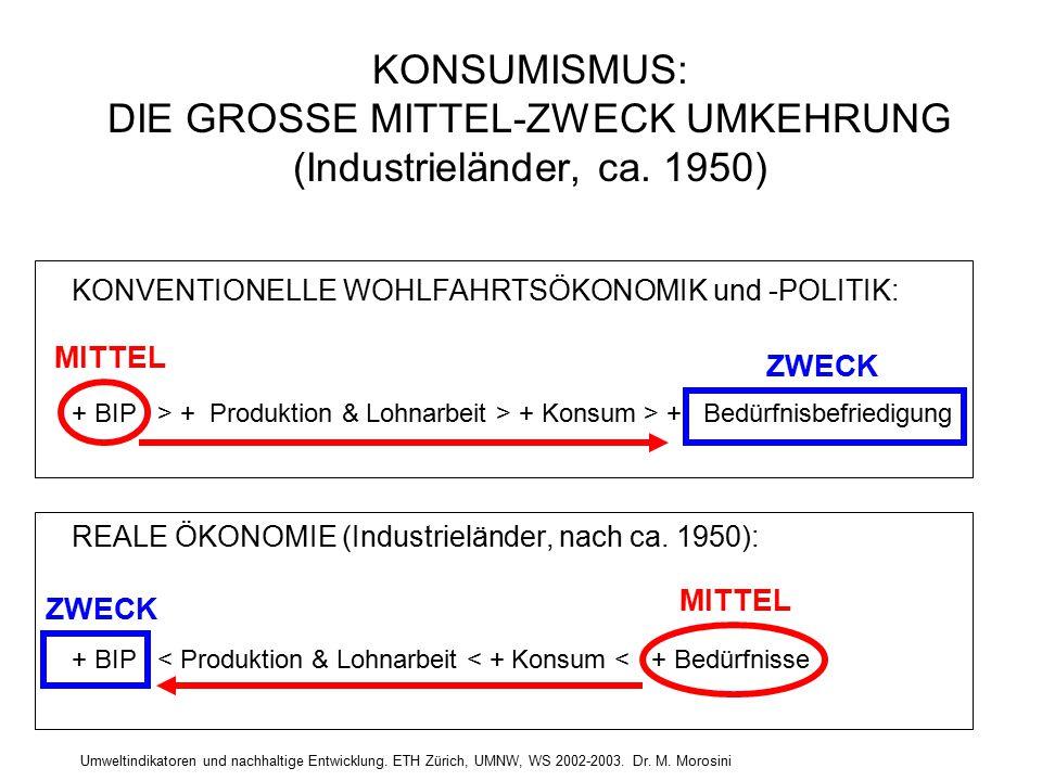 Umweltindikatoren und nachhaltige Entwicklung. ETH Zürich, UMNW, WS 2002-2003. Dr. M. Morosini KONSUMISMUS: DIE GROSSE MITTEL-ZWECK UMKEHRUNG (Industr