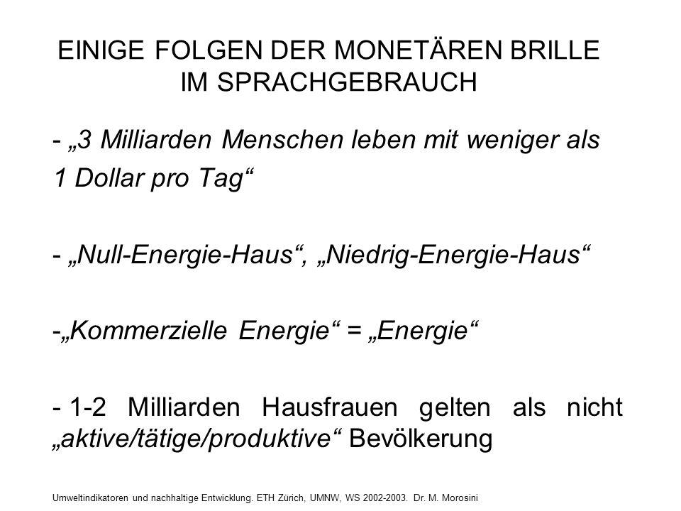 Umweltindikatoren und nachhaltige Entwicklung. ETH Zürich, UMNW, WS 2002-2003. Dr. M. Morosini EINIGE FOLGEN DER MONETÄREN BRILLE IM SPRACHGEBRAUCH -