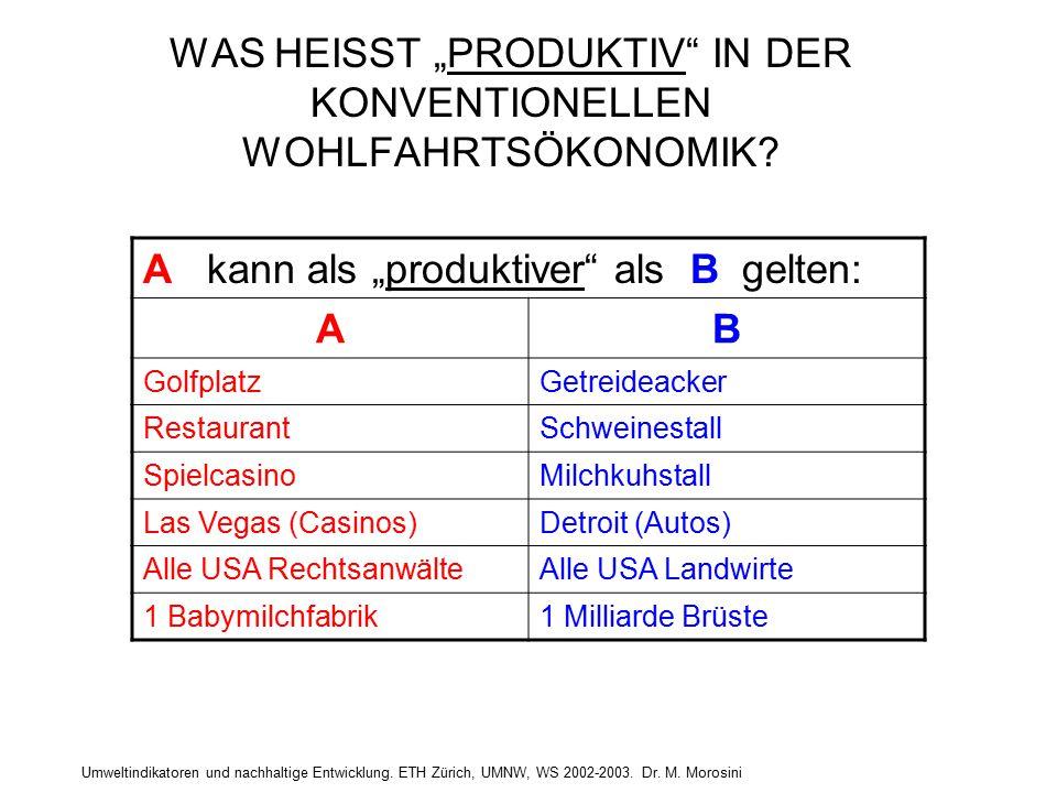 """Umweltindikatoren und nachhaltige Entwicklung. ETH Zürich, UMNW, WS 2002-2003. Dr. M. Morosini WAS HEISST """"PRODUKTIV"""" IN DER KONVENTIONELLEN WOHLFAHRT"""