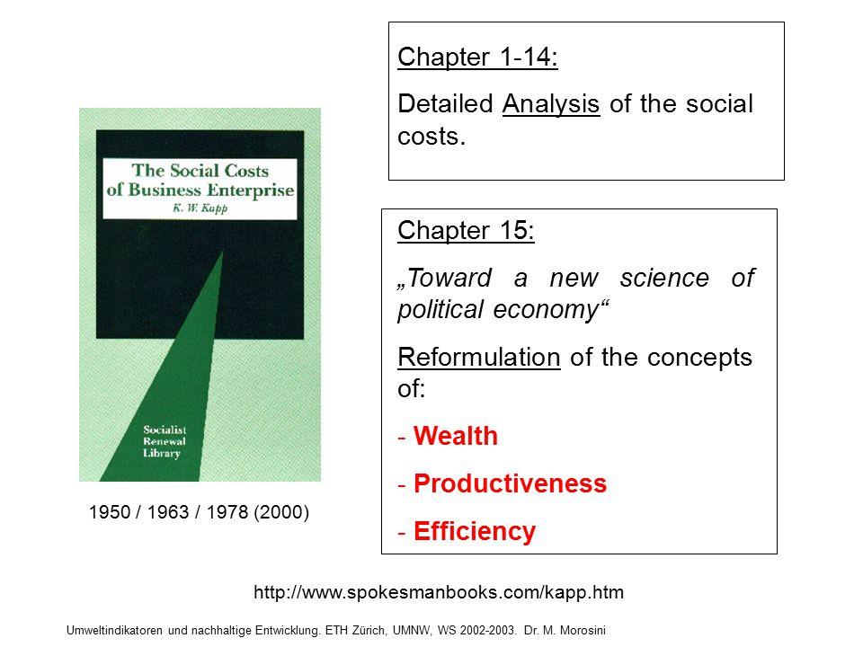 Umweltindikatoren und nachhaltige Entwicklung. ETH Zürich, UMNW, WS 2002-2003. Dr. M. Morosini http://www.spokesmanbooks.com/kapp.htm 1950 / 1963 / 19