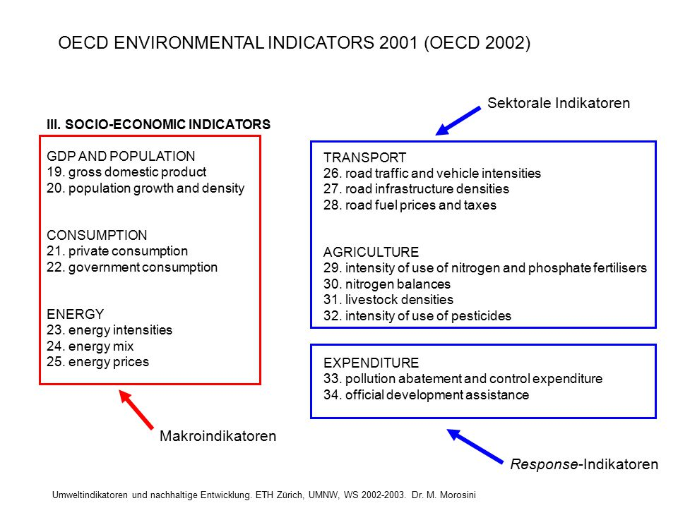 Umweltindikatoren und nachhaltige Entwicklung. ETH Zürich, UMNW, WS 2002-2003. Dr. M. Morosini III. SOCIO-ECONOMIC INDICATORS GDP AND POPULATION 19. g
