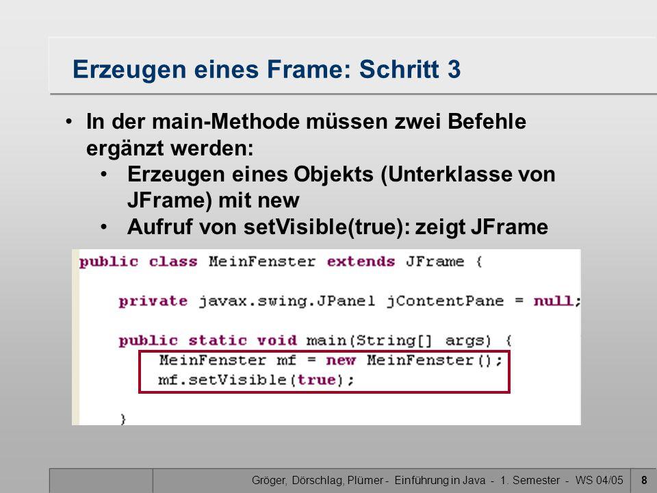Gröger, Dörschlag, Plümer - Einführung in Java - 1. Semester - WS 04/059 Ausführen des Frame