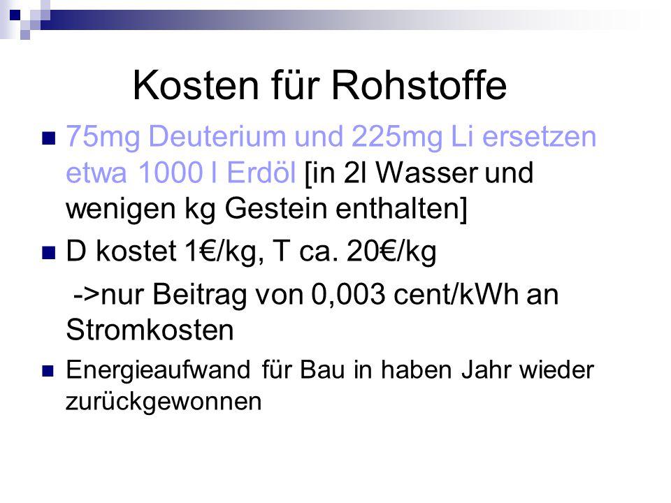 Kosten für Rohstoffe 75mg Deuterium und 225mg Li ersetzen etwa 1000 l Erdöl [in 2l Wasser und wenigen kg Gestein enthalten] D kostet 1€/kg, T ca. 20€/