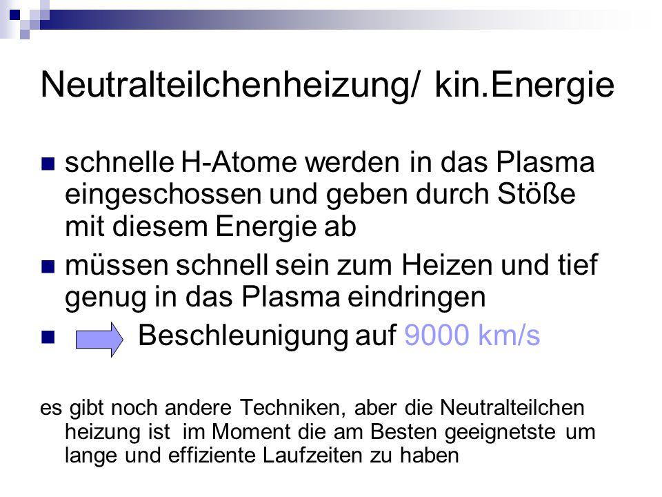 Neutralteilchenheizung/ kin.Energie schnelle H-Atome werden in das Plasma eingeschossen und geben durch Stöße mit diesem Energie ab müssen schnell sei