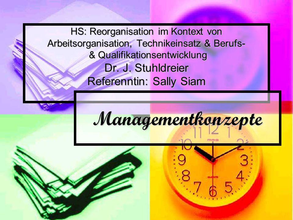 HS: Reorganisation im Kontext von Arbeitsorganisation, Technikeinsatz & Berufs- & Qualifikationsentwicklung Dr. J. Stuhldreier Referenntin: Sally Siam
