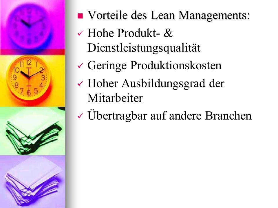 Vorteile des Lean Managements: Vorteile des Lean Managements: Hohe Produkt- & Dienstleistungsqualität Geringe Produktionskosten Hoher Ausbildungsgrad