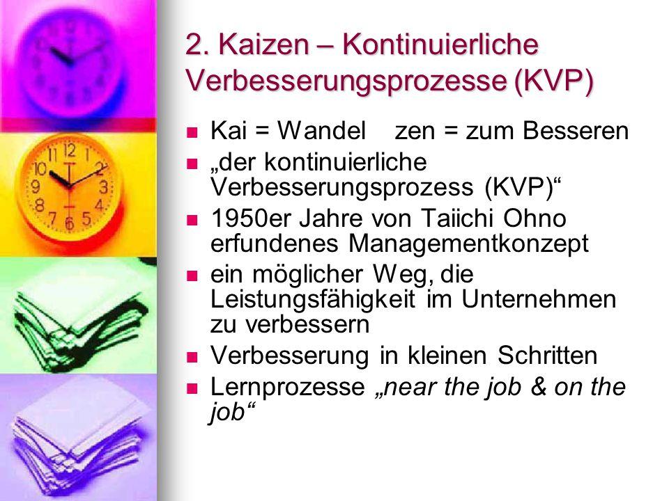 """2. Kaizen – Kontinuierliche Verbesserungsprozesse (KVP) Kai = Wandel zen = zum Besseren """"der kontinuierliche Verbesserungsprozess (KVP)"""" 1950er Jahre"""
