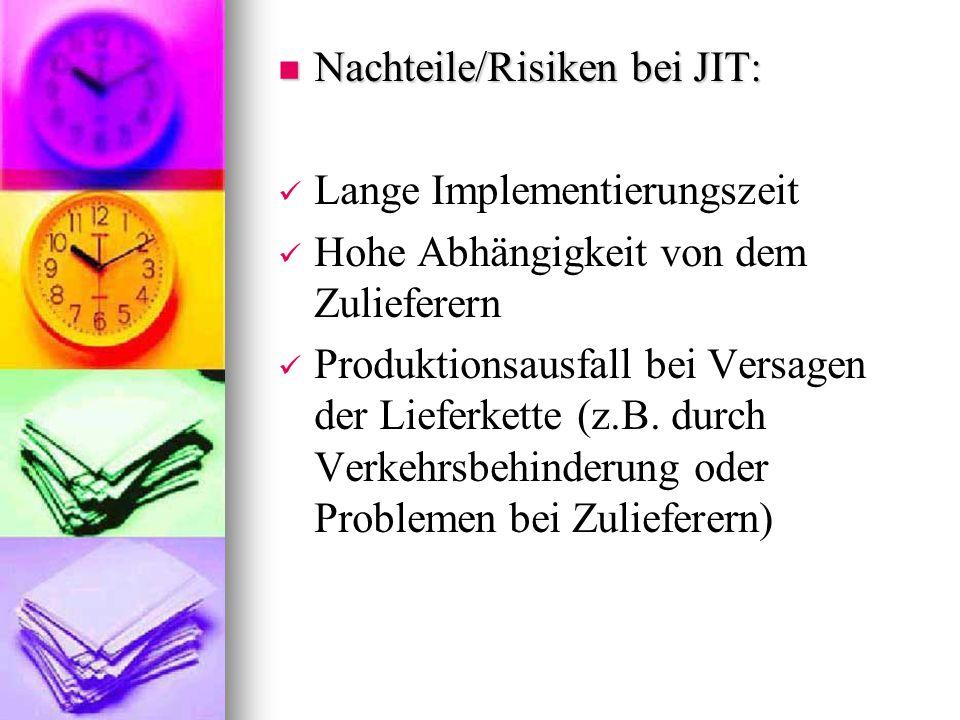 Nachteile/Risiken bei JIT: Nachteile/Risiken bei JIT: Lange Implementierungszeit Hohe Abhängigkeit von dem Zulieferern Produktionsausfall bei Versagen