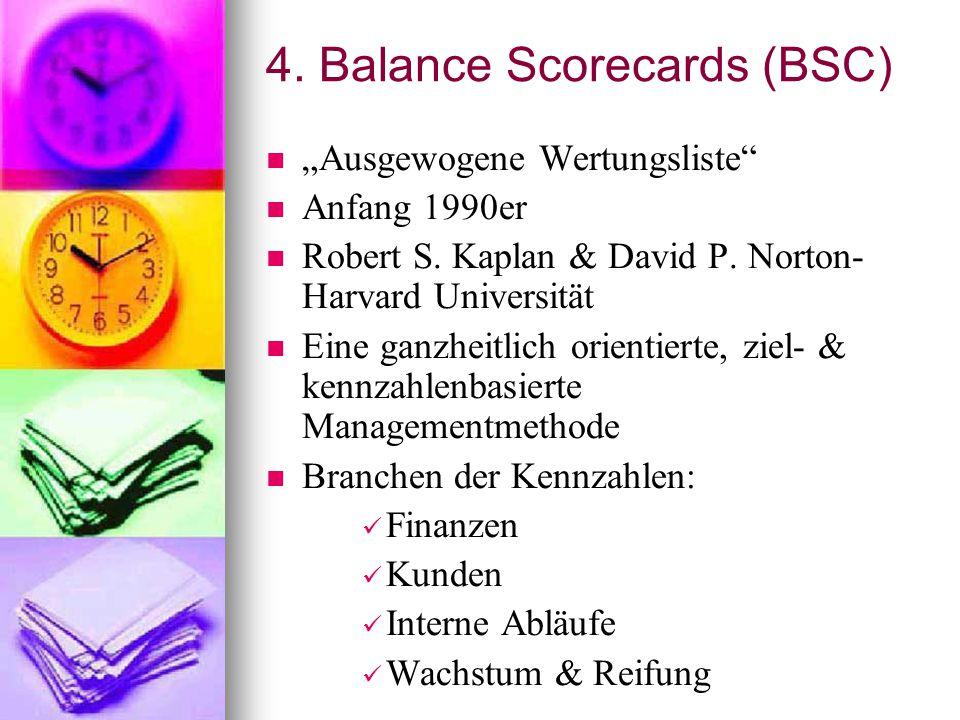 """4. Balance Scorecards (BSC) """"Ausgewogene Wertungsliste"""" Anfang 1990er Robert S. Kaplan & David P. Norton- Harvard Universität Eine ganzheitlich orient"""