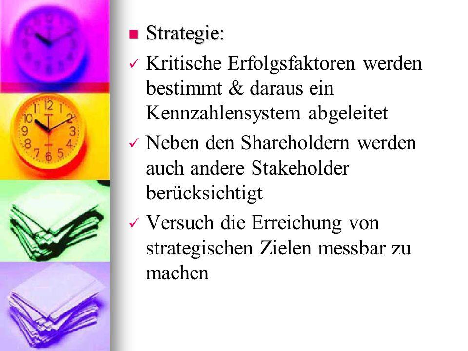 Strategie: Strategie: Kritische Erfolgsfaktoren werden bestimmt & daraus ein Kennzahlensystem abgeleitet Neben den Shareholdern werden auch andere Sta