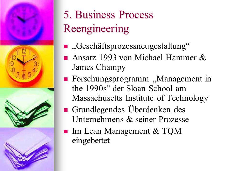 "5. Business Process Reengineering ""Geschäftsprozessneugestaltung"" Ansatz 1993 von Michael Hammer & James Champy Forschungsprogramm ""Management in the"