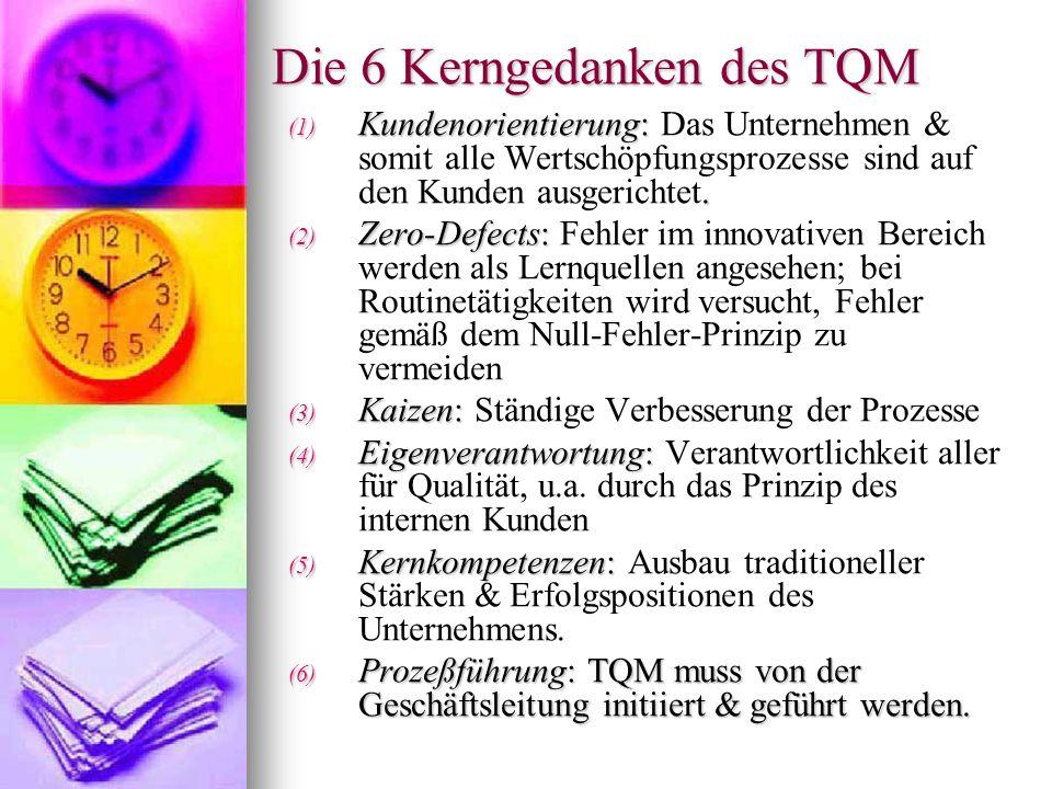 Die 6 Kerngedanken des TQM (1) Kundenorientierung:. (1) Kundenorientierung: Das Unternehmen & somit alle Wertschöpfungsprozesse sind auf den Kunden au