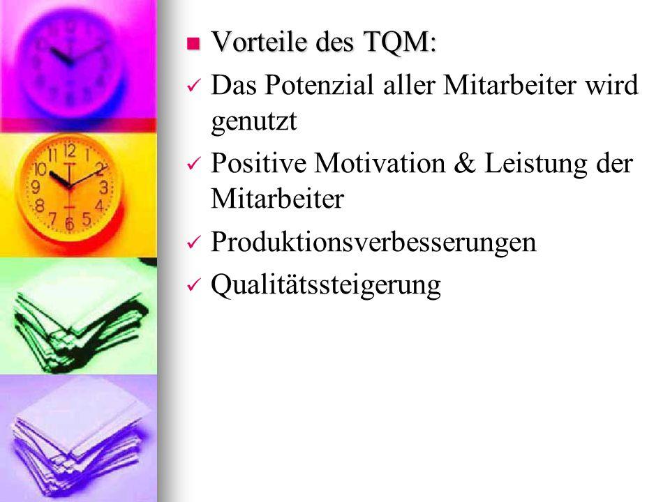 Vorteile des TQM: Vorteile des TQM: Das Potenzial aller Mitarbeiter wird genutzt Positive Motivation & Leistung der Mitarbeiter Produktionsverbesserun