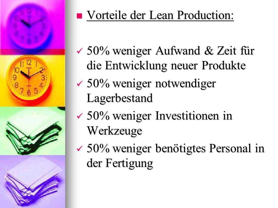 Vorteile der Lean Production: Vorteile der Lean Production: 50% weniger Aufwand & Zeit für die Entwicklung neuer Produkte 50% weniger Aufwand & Zeit f