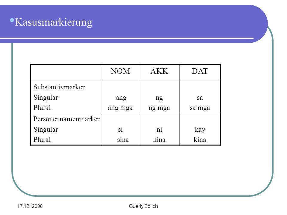 17.12. 2008Guerly Söllch Kasusmarkierung NOMAKKDAT Substantivmarker Singular Plural ang ang mga ng ng mga sa sa mga Personennamenmarker Singular Plura