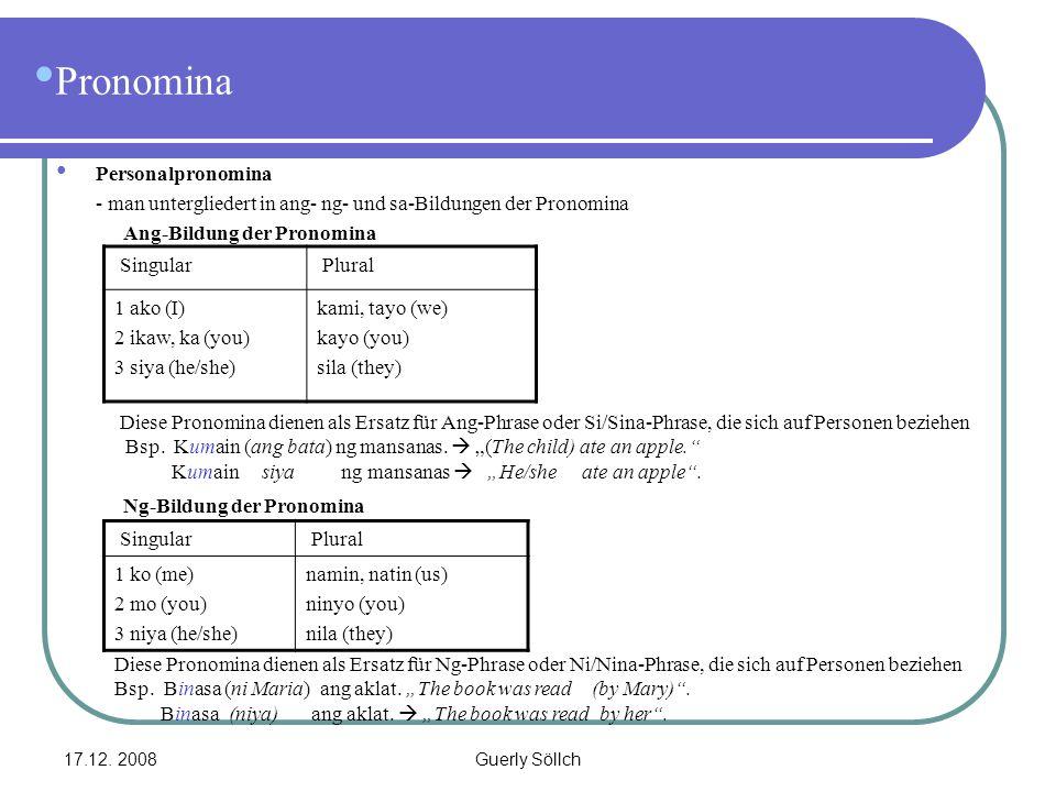 17.12. 2008Guerly Söllch Pronomina Personalpronomina - man untergliedert in ang- ng- und sa-Bildungen der Pronomina Ang-Bildung der Pronomina Singular