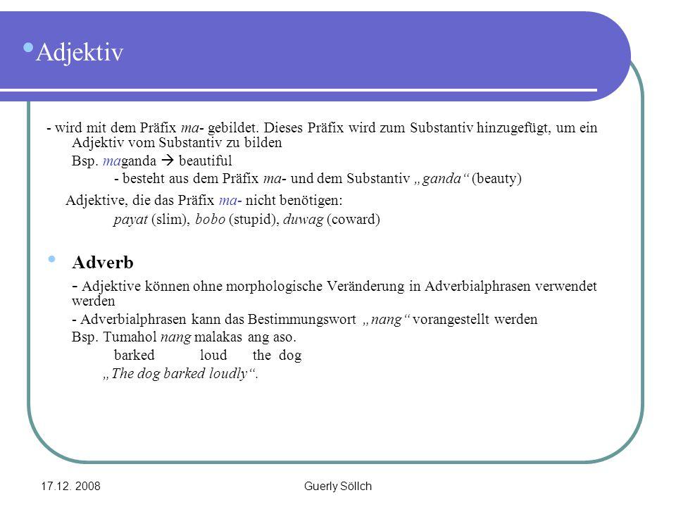 17.12. 2008Guerly Söllch Adjektiv - wird mit dem Präfix ma- gebildet. Dieses Präfix wird zum Substantiv hinzugefügt, um ein Adjektiv vom Substantiv zu