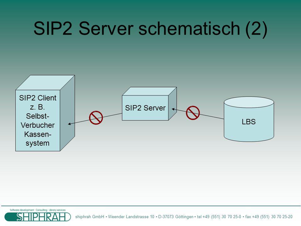 shiphrah GmbH Weender Landstrasse 10 D-37073 Göttingen tel +49 (551) 30 70 25-0 fax +49 (551) 30 70 25-20 SIP2 Server schematisch (2) SIP2 Client z.