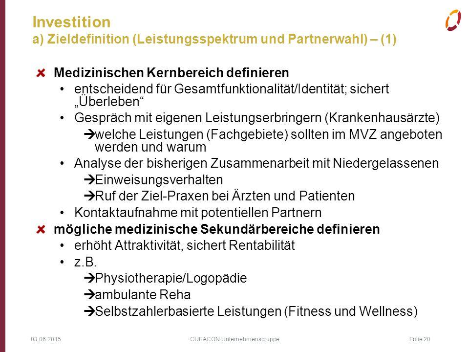 03.06.2015 CURACON Unternehmensgruppe Folie 20 Investition a) Zieldefinition (Leistungsspektrum und Partnerwahl) – (1) Medizinischen Kernbereich defin