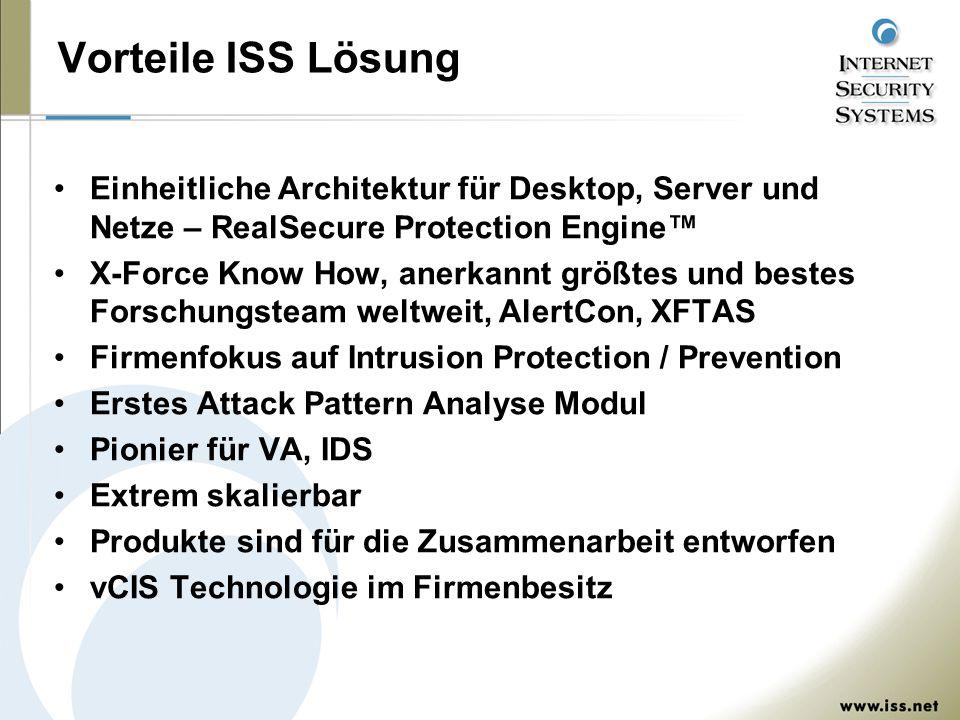 Vorteile ISS Lösung Einheitliche Architektur für Desktop, Server und Netze – RealSecure Protection Engine™ X-Force Know How, anerkannt größtes und bes