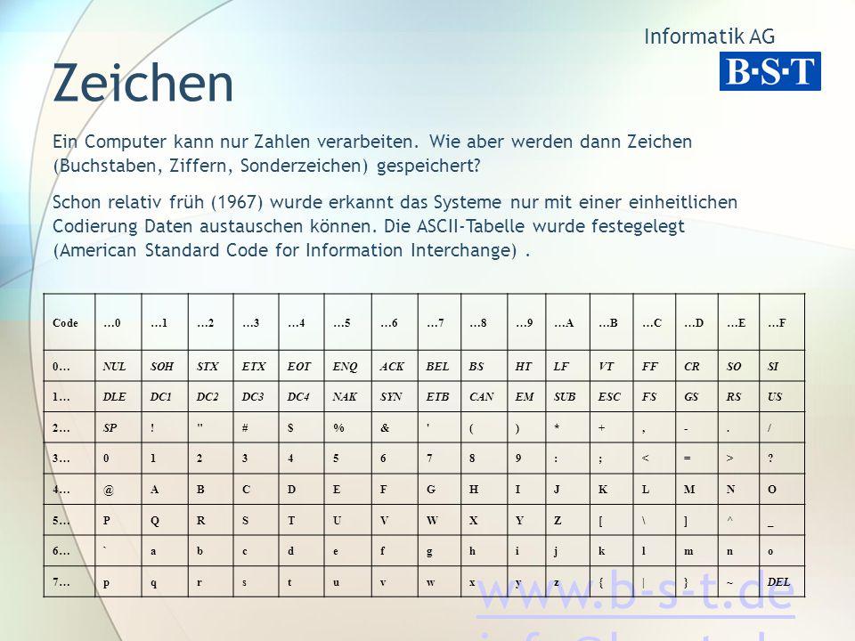 www.b-s-t.de info@b-s-t.de Zeichen Ein Computer kann nur Zahlen verarbeiten.