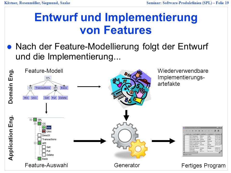 Kästner, Rosenmüller, Siegmund, SaakeSeminar: Software-Produktlinien (SPL) – Folie 19 Entwurf und Implementierung von Features Nach der Feature-Modellierung folgt der Entwurf und die Implementierung...