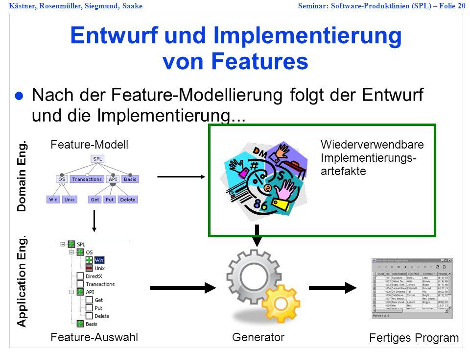 Kästner, Rosenmüller, Siegmund, SaakeSeminar: Software-Produktlinien (SPL) – Folie 20 Entwurf und Implementierung von Features Nach der Feature-Modellierung folgt der Entwurf und die Implementierung...
