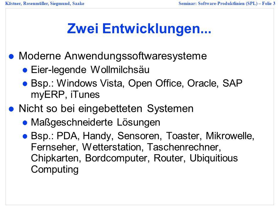 Kästner, Rosenmüller, Siegmund, SaakeSeminar: Software-Produktlinien (SPL) – Folie 3 Zwei Entwicklungen...