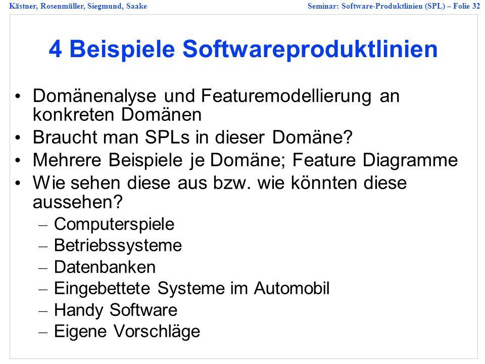Kästner, Rosenmüller, Siegmund, SaakeSeminar: Software-Produktlinien (SPL) – Folie 32 4 Beispiele Softwareproduktlinien Domänenalyse und Featuremodellierung an konkreten Domänen Braucht man SPLs in dieser Domäne.