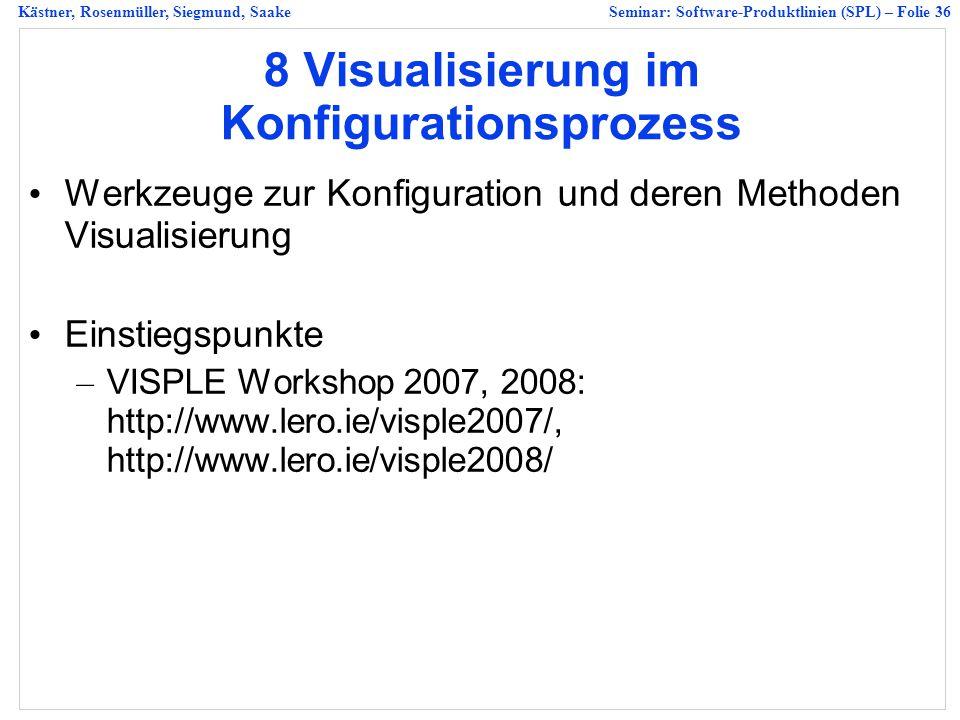 Kästner, Rosenmüller, Siegmund, SaakeSeminar: Software-Produktlinien (SPL) – Folie 36 8 Visualisierung im Konfigurationsprozess Werkzeuge zur Konfiguration und deren Methoden Visualisierung Einstiegspunkte – VISPLE Workshop 2007, 2008: http://www.lero.ie/visple2007/, http://www.lero.ie/visple2008/