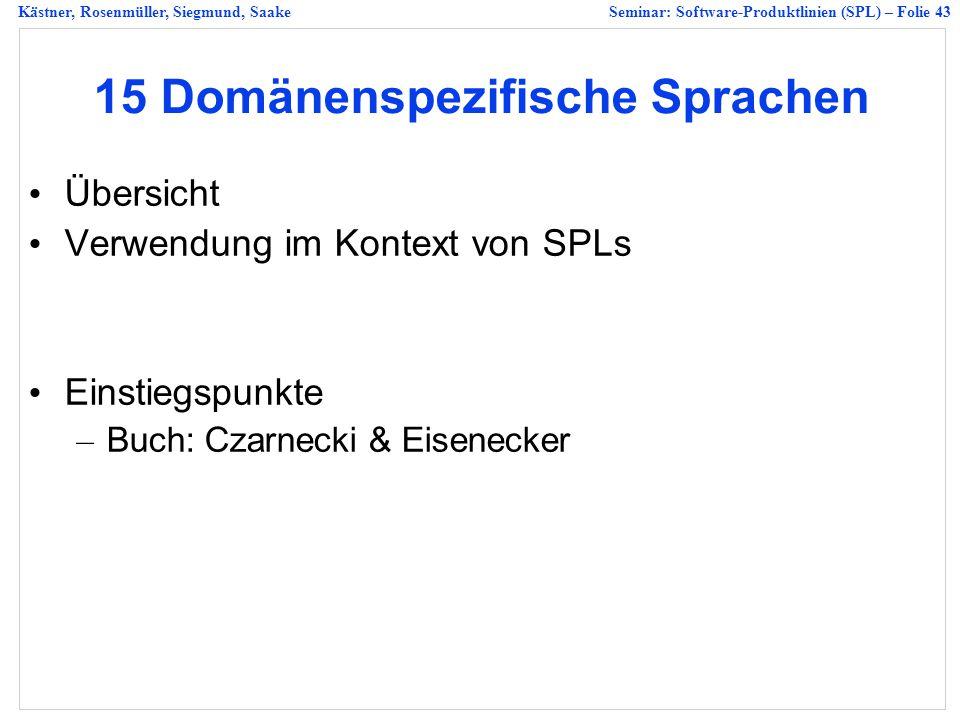 Kästner, Rosenmüller, Siegmund, SaakeSeminar: Software-Produktlinien (SPL) – Folie 43 15 Domänenspezifische Sprachen Übersicht Verwendung im Kontext von SPLs Einstiegspunkte – Buch: Czarnecki & Eisenecker