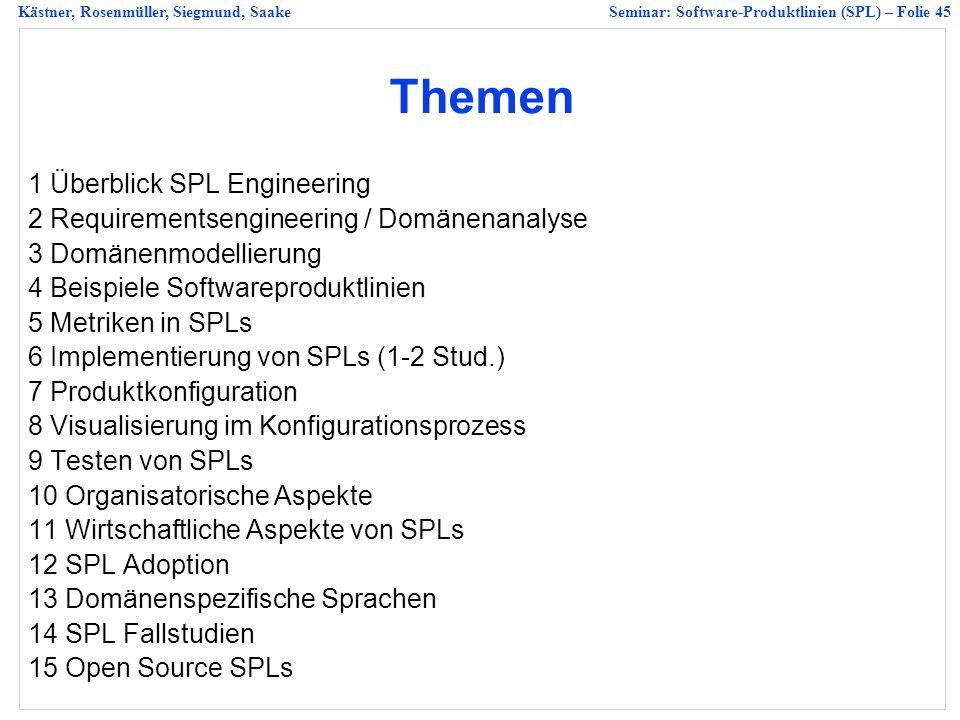 Kästner, Rosenmüller, Siegmund, SaakeSeminar: Software-Produktlinien (SPL) – Folie 45 Themen 1 Überblick SPL Engineering 2 Requirementsengineering / Domänenanalyse 3 Domänenmodellierung 4 Beispiele Softwareproduktlinien 5 Metriken in SPLs 6 Implementierung von SPLs (1-2 Stud.) 7 Produktkonfiguration 8 Visualisierung im Konfigurationsprozess 9 Testen von SPLs 10 Organisatorische Aspekte 11 Wirtschaftliche Aspekte von SPLs 12 SPL Adoption 13 Domänenspezifische Sprachen 14 SPL Fallstudien 15 Open Source SPLs