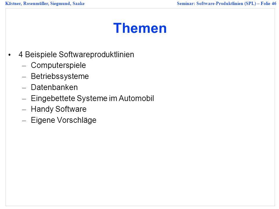 Kästner, Rosenmüller, Siegmund, SaakeSeminar: Software-Produktlinien (SPL) – Folie 46 Themen 4 Beispiele Softwareproduktlinien – Computerspiele – Betriebssysteme – Datenbanken – Eingebettete Systeme im Automobil – Handy Software – Eigene Vorschläge