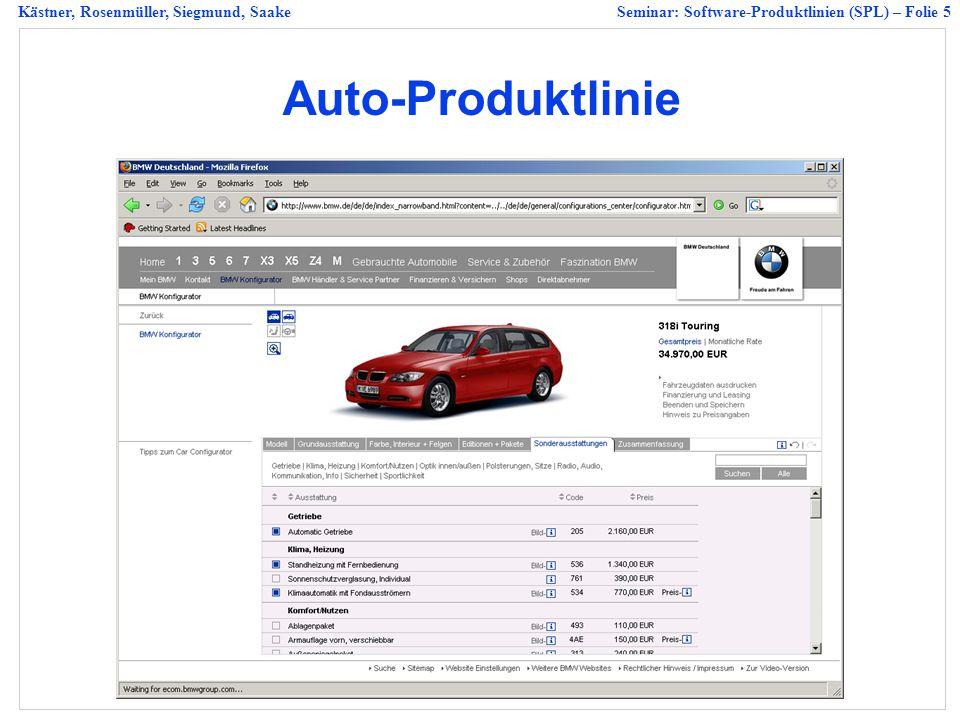 Kästner, Rosenmüller, Siegmund, SaakeSeminar: Software-Produktlinien (SPL) – Folie 5 Auto-Produktlinie