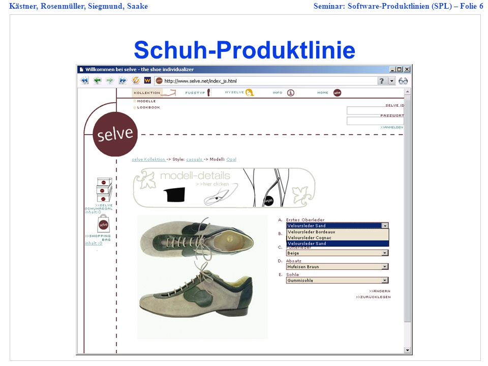 Kästner, Rosenmüller, Siegmund, SaakeSeminar: Software-Produktlinien (SPL) – Folie 27 Technical Hints 20 min, about 7 to 15 slides Fontsize >= 18, sans-serife fonts Name, title and affiliation on every slide Slides number on every slide At most one topic per slide Visualization, colors where necessary Avoid overfull slides (> 7 objects or > 36 words) Avoid writing full sencences, instead summarize the content using only headwords.