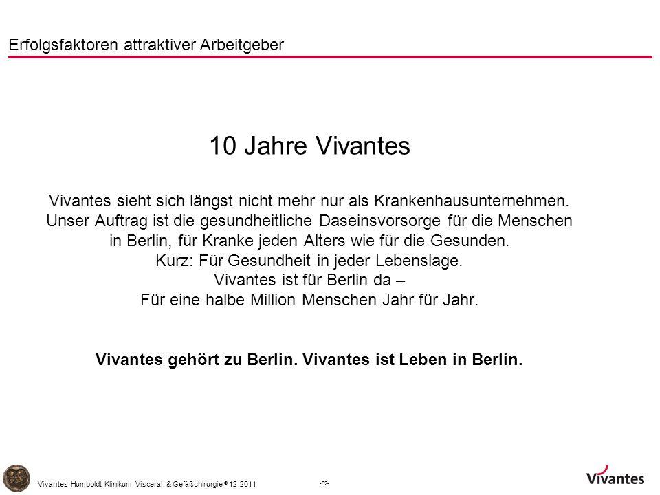 -32- Vivantes-Humboldt-Klinikum, Visceral- & Gefäßchirurgie © 12-2011 Erfolgsfaktoren attraktiver Arbeitgeber 10 Jahre Vivantes Vivantes sieht sich längst nicht mehr nur als Krankenhausunternehmen.