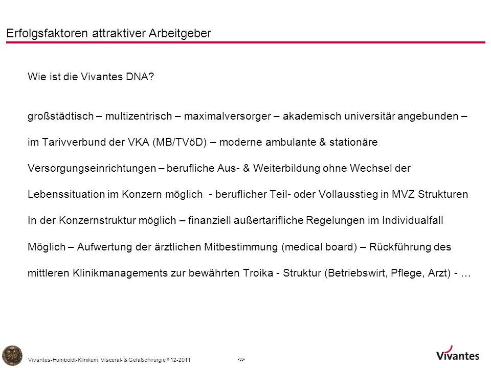 -33- Vivantes-Humboldt-Klinikum, Visceral- & Gefäßchirurgie © 12-2011 Erfolgsfaktoren attraktiver Arbeitgeber Wie ist die Vivantes DNA.