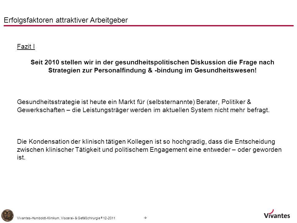 -20- Vivantes-Humboldt-Klinikum, Visceral- & Gefäßchirurgie © 12-2011 Erfolgsfaktoren attraktiver Arbeitgeber Entwicklung in Eckpunkten 2001 - 2003 ca.