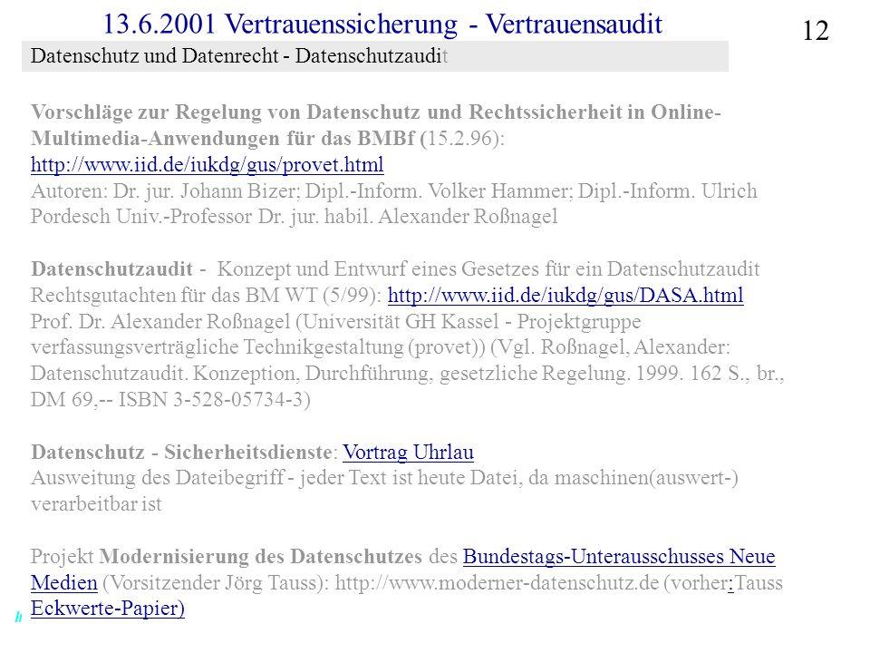 Institut für Bibliothekswissenschaft an der Humboldt-Universität Berlin 12 Vertrauen – SS 2001 13.6.2001 Vertrauenssicherung - Vertrauensaudit Vorschläge zur Regelung von Datenschutz und Rechtssicherheit in Online- Multimedia-Anwendungen für das BMBf (15.2.96): http://www.iid.de/iukdg/gus/provet.html http://www.iid.de/iukdg/gus/provet.html Autoren: Dr.