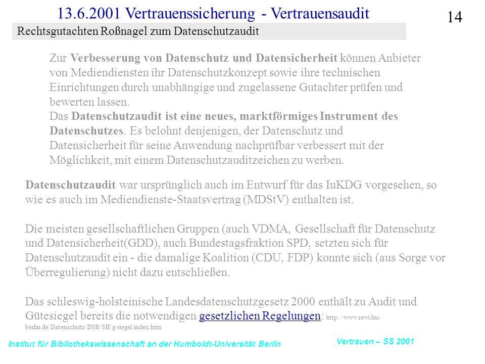 Institut für Bibliothekswissenschaft an der Humboldt-Universität Berlin 14 Vertrauen – SS 2001 13.6.2001 Vertrauenssicherung - Vertrauensaudit Rechtsgutachten Roßnagel zum Datenschutzaudit Zur Verbesserung von Datenschutz und Datensicherheit können Anbieter von Mediendiensten ihr Datenschutzkonzept sowie ihre technischen Einrichtungen durch unabhängige und zugelassene Gutachter prüfen und bewerten lassen.