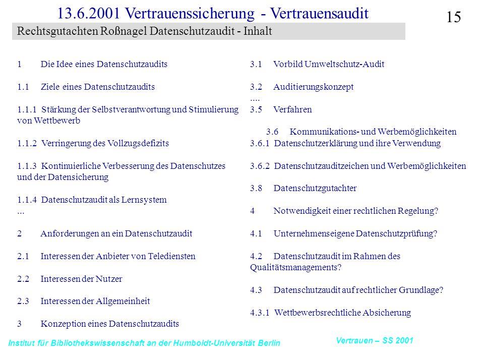 Institut für Bibliothekswissenschaft an der Humboldt-Universität Berlin 15 Vertrauen – SS 2001 13.6.2001 Vertrauenssicherung - Vertrauensaudit Rechtsgutachten Roßnagel Datenschutzaudit - Inhalt 1 Die Idee eines Datenschutzaudits 1.1 Ziele eines Datenschutzaudits 1.1.1 Stärkung der Selbstverantwortung und Stimulierung von Wettbewerb 1.1.2 Verringerung des Vollzugsdefizits 1.1.3 Kontinuierliche Verbesserung des Datenschutzes und der Datensicherung 1.1.4 Datenschutzaudit als Lernsystem...