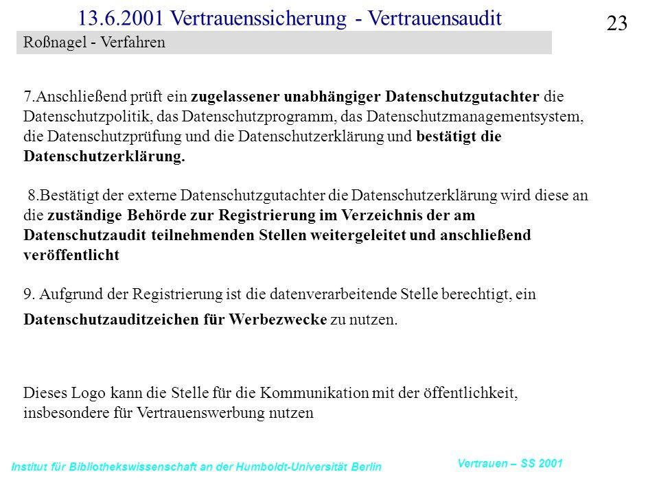 Institut für Bibliothekswissenschaft an der Humboldt-Universität Berlin 23 Vertrauen – SS 2001 13.6.2001 Vertrauenssicherung - Vertrauensaudit 7.Anschließend prüft ein zugelassener unabhängiger Datenschutzgutachter die Datenschutzpolitik, das Datenschutzprogramm, das Datenschutzmanagementsystem, die Datenschutzprüfung und die Datenschutzerklärung und bestätigt die Datenschutzerklärung.